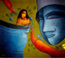 Feeling Love | Painting by artist Samir Sarkar | acrylic | Canvas