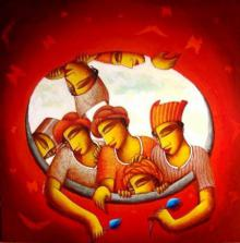 Samir Sarkar | Acrylic Painting title Inner Circle on Canvas | Artist Samir Sarkar Gallery | ArtZolo.com