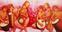 Figurative Acrylic Art Painting title 'Music Series 2' by artist Samir Sarkar