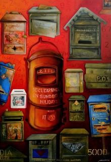 Figurative Acrylic Art Painting title Post Box by artist Samir Sarkar