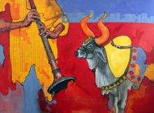 Animals Acrylic Art Painting title 'Samvad 2/7' by artist Ramchandra Kharatmal