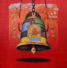Figurative Acrylic-oil Art Painting title 'Bell' by artist Ramchandra Kharatmal