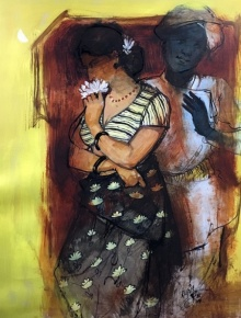 Figurative Acrylic Art Painting title 'Couple 1' by artist Ramchandra Kharatmal