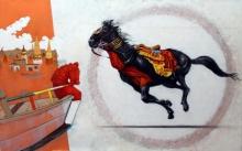 art, painting, acrylic, charcoal, canvas, animal