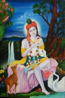 Religious Oil Art Painting title Krishna by artist Mitesh Suthar