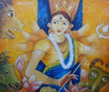 Religious Acrylic Art Painting title 'Durga' by artist Anirban Seth