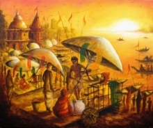art, painting, acrylic, canvas, cityscape, varanasi