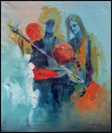Figurative Acrylic Art Painting title 'Folk Musicians' by artist Kariyappa Hanchinamani
