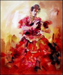 Figurative Acrylic Art Painting title 'Bharatanatyam' by artist Kariyappa Hanchinamani