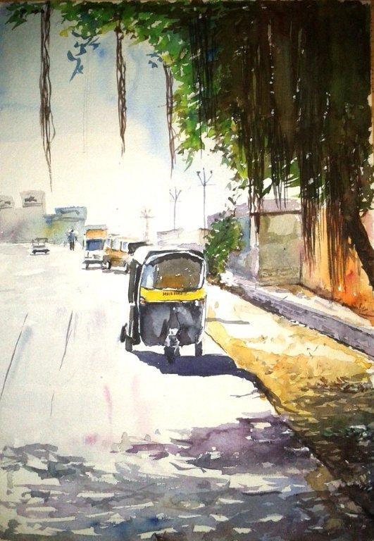 watercolor 5 10x14 by artist chetan agrawal cityscape art