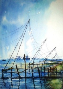 Chetan Agrawal Paintings | Landscape Painting - Watercolor 3 by artist Chetan Agrawal | ArtZolo.com