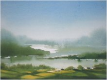 Landscape Watercolor Art Painting title 'Lake' by artist Fareed Ahmed