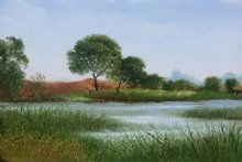 Landscape Oil Art Painting title Pond by artist Fareed Ahmed