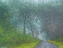 Landscape Oil Art Painting title 'Road less traveled 2' by artist Fareed Ahmed