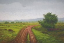 Landscape Oil Art Painting title After the rain by artist Fareed Ahmed