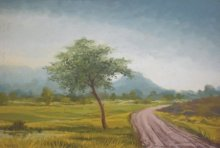 Landscape Oil Art Painting title Muddy way by artist Fareed Ahmed