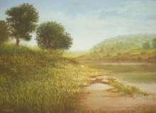 Landscape Oil Art Painting title River view by artist Fareed Ahmed