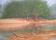 Landscape Oil Art Painting title Riverside by artist Fareed Ahmed