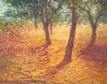 Landscape Oil Art Painting title 'Tree trunks' by artist Fareed Ahmed