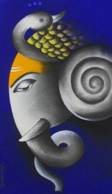 Religious Mixed-media Art Painting title 'Mayuresh Ganesha' by artist Somnath Bothe