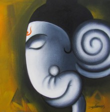 Religious Acrylic Art Painting title Yogdeepa Ganesha by artist Somnath Bothe