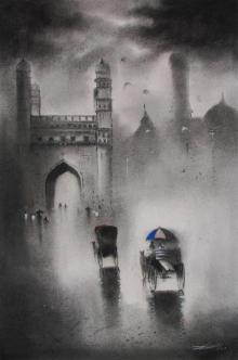 Somnath Bothe | Acrylic Painting title Charminar on Paper | Artist Somnath Bothe Gallery | ArtZolo.com