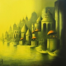 Cityscape Mixed-media Art Painting title 'Golden Banaras' by artist Somnath Bothe