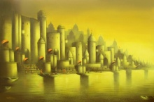 Cityscape Mixed-media Art Painting title 'Golden Banaras 2' by artist Somnath Bothe