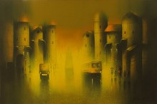 Cityscape Acrylic Art Painting title 'Golden Night' by artist Somnath Bothe