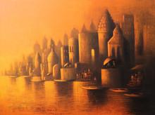 Cityscape Acrylic Art Painting title Holy Banaras by artist Somnath Bothe