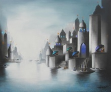 Cityscape Mixed-media Art Painting title 'Holy Banaras 3' by artist Somnath Bothe