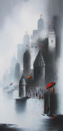 Cityscape Mixed-media Art Painting title 'Holy Banaras 4' by artist Somnath Bothe