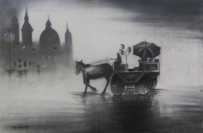Rhythmic Monsoon Iii By Artist Somnath Bothe Charcoal