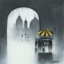 Cityscape Charcoal Art Drawing title 'Rhythmic Monsoon IV' by artist Somnath Bothe