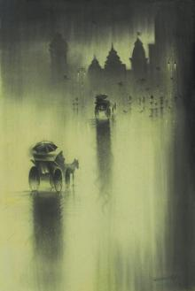 Cityscape Charcoal Art Drawing title 'Monsoon I' by artist Somnath Bothe
