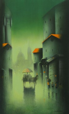 Cityscape Acrylic Art Painting title 'Monsoon In Pune' by artist Somnath Bothe