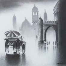 Cityscape Acrylic Art Painting title 'Monsoon Ride I' by artist Somnath Bothe