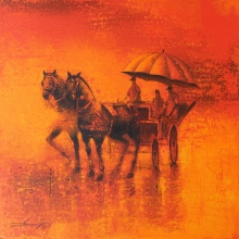 Animals Acrylic Art Painting title 'Monsoon Ride 13' by artist Somnath Bothe