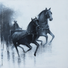 Somnath Bothe Paintings | Acrylic-charcoal Painting - Monsoon Ride 14 by artist Somnath Bothe | ArtZolo.com