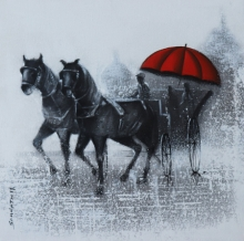 Somnath Bothe Paintings | Acrylic-charcoal Painting - Monsoon Ride 15 by artist Somnath Bothe | ArtZolo.com
