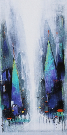 Cityscape Acrylic Art Painting title 'Path Of Heaven 5' by artist Somnath Bothe