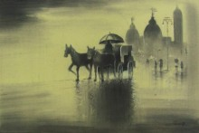 Cityscape Charcoal Art Drawing title 'Rhythmic Monsoon Ride' by artist Somnath Bothe