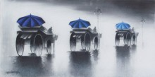 Cityscape Mixed-media Art Painting title 'Rhythmic Monsoon Ride' by artist Somnath Bothe