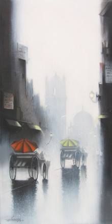 Cityscape Mixed-media Art Painting title 'Rhythmic Monsoon Ride 2' by artist Somnath Bothe