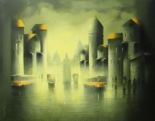 Cityscape Acrylic Art Painting title 'Rhytmic Monsoon Ride 1' by artist Somnath Bothe