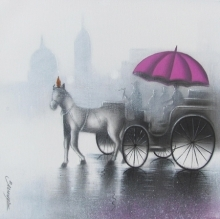 Cityscape Mixed-media Art Painting title 'Rythmic Monsoon Ride 4' by artist Somnath Bothe