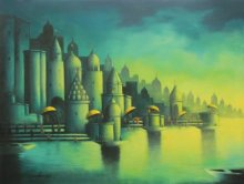 Landscape Acrylic Art Painting title 'Holy Banaras' by artist Somnath Bothe