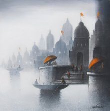 Landscape Charcoal Art Drawing title 'Holy Banaras' by artist Somnath Bothe