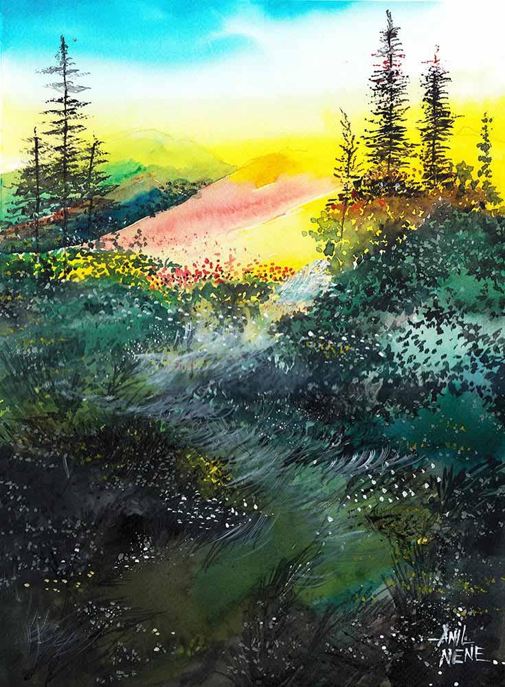Good Morning By Artist Anil Nene Landscape Art Watercolor Paintings