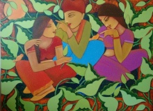 Nature Acrylic Art Painting title 'Villagers' by artist Sadaf Beg Khan